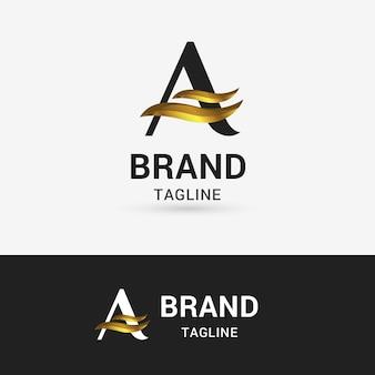 Letter a shape gold logo