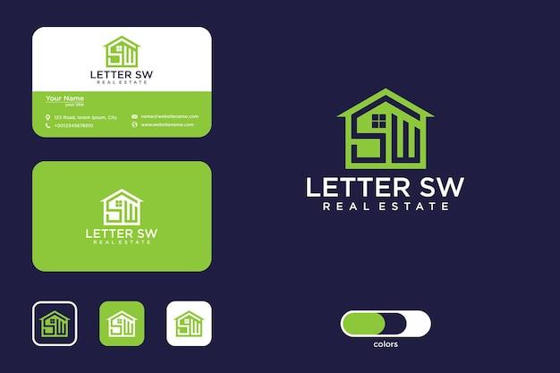 Письмо sw с дизайном логотипа дома и визитной карточкой