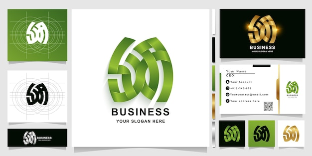 Letter sxa or a monogram logo template with business card design