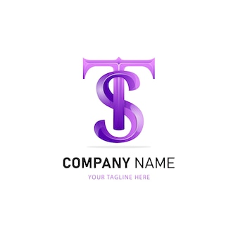 文字tとsのロゴデザイン、カラフルなロゴテンプレート