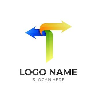 文字tの矢印のロゴ、文字tと矢印、3dカラフルなスタイルの組み合わせのロゴ
