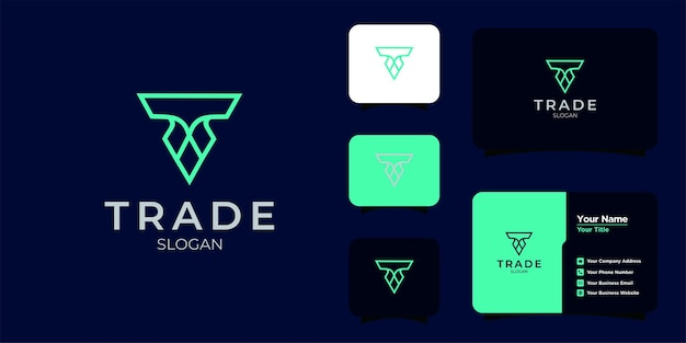 Буква t строительный логотип и визитная карточка