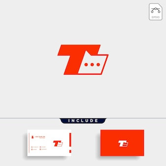 Letter t chat logo template vector design message icon