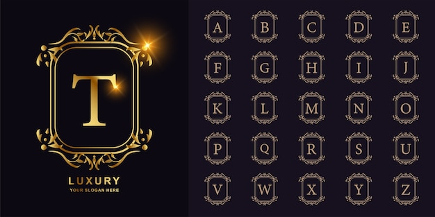 Letter t or collection initial alphabet with luxury ornament floral frame golden logo template.