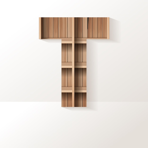 Буква t дизайн деревянной полки