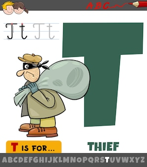 Letter t from alphabet with cartoon thief character