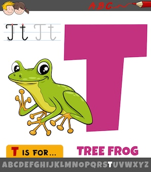 Letter t from alphabet with cartoon tree frog animal