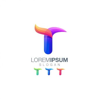 Letter t gradient color logo template