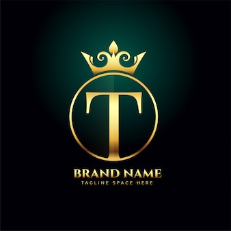 Letter t and grown golden logo concept template