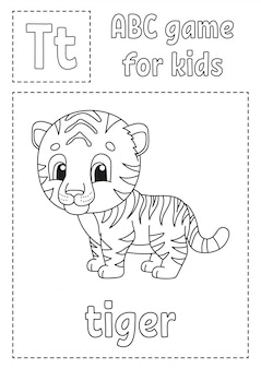 Letter t is for tiger. abc game for kids. alphabet coloring page.