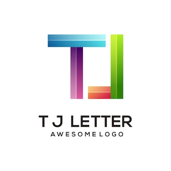 Letter t j colorful logo design template modern