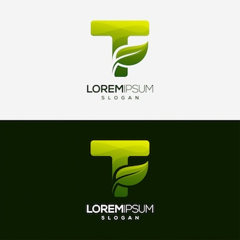 Letter t leaf gradient color logo template
