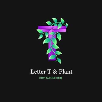 文字tロゴと植物のロゴデザイン、カラフルなロゴテンプレート