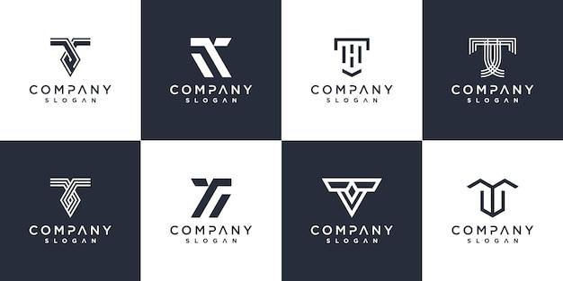 현대적인 개념을 가진 편지 t 로고 컬렉션 premium vector