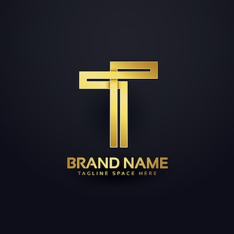 Letter t logo concept design in premium golden