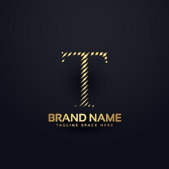 手紙t抽象スタイルのロゴコンセプト