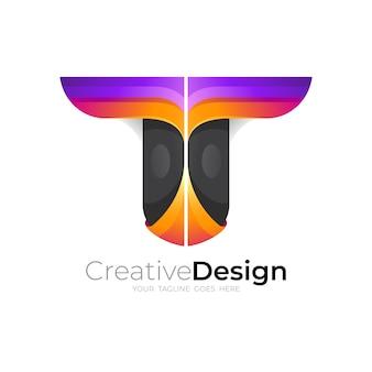 文字tのロゴデザイン、3dカラフルなスタイル、アイコンベクトル