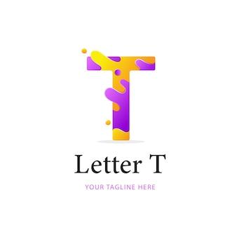 文字tロゴデザイン、カラフルなロゴテンプレート