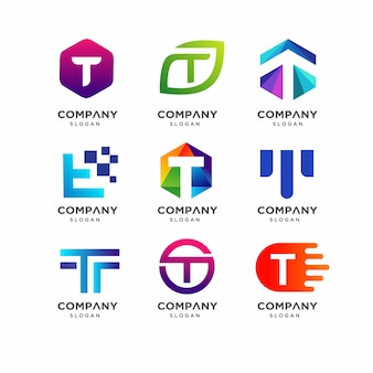 Tの文字ロゴデザインテンプレート