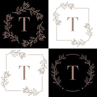 Буква t дизайн логотипа с элементом листа орхидеи