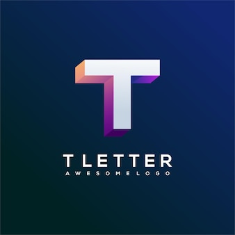Letter t logo gradient abstract colorful illustration