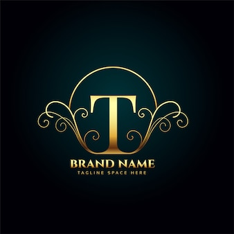 Letter t logo monogram in golden luxury style