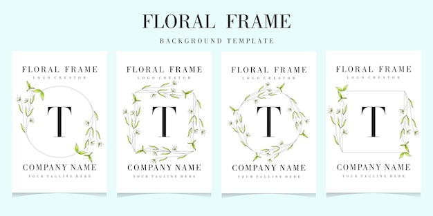 Letter t logo with floral frame background template
