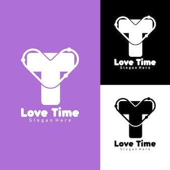 Letter t and love logo simple flat design for health or fitness center logo