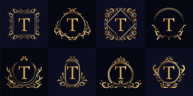 Letter t luxury ornament or floral frame logo template set collection.