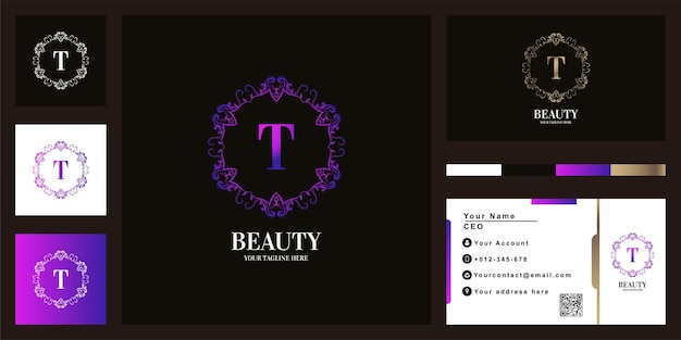 Letter t luxury ornament flower frame logo template design with business card.
