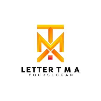 Letter t m a colorful logo design template