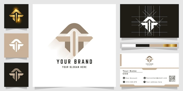 文字tまたは名刺デザインのモノグラムロゴ