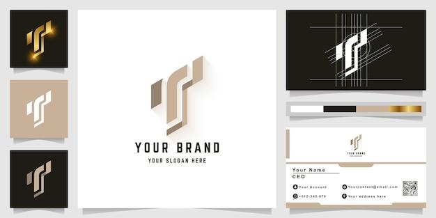 Буква t или логотип монограммы tt с дизайном визитной карточки