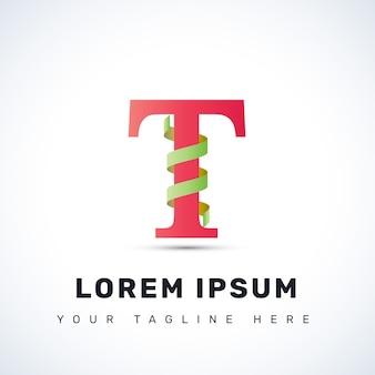 Письмо t спиральный логотип