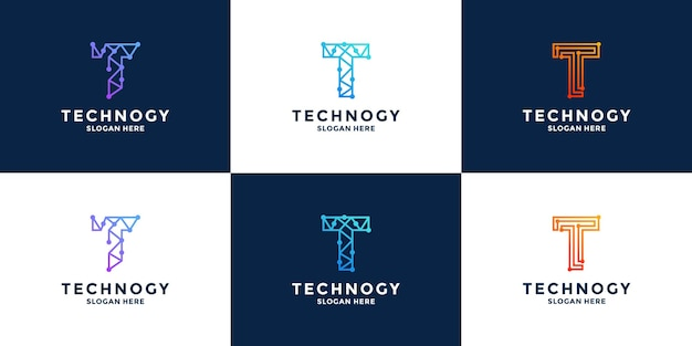 Letter t technology logo design initial letter combination with data, pixel, for technology