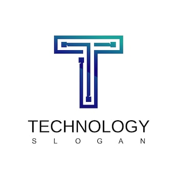 Letter t technology logo with circuit symbol