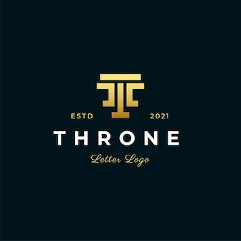 Буква t трон современный логотип значок иллюстрации стиль полосы линии