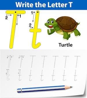 アルファベットのワークシートをトレースする文字t