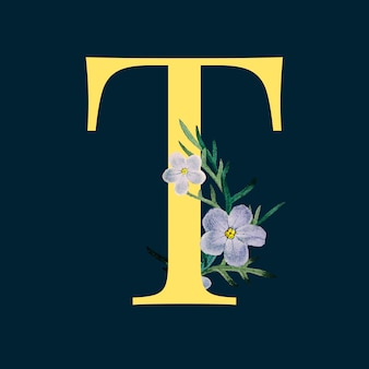 Letter t with blossoms
