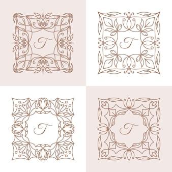 Буква t с шаблоном логотипа цветочной рамки