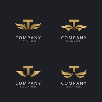 Буква t с роскошным абстрактным шаблоном логотипа крыла