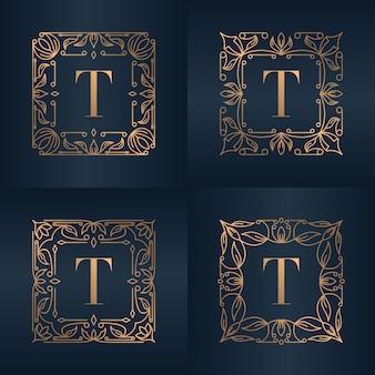 Буква t с роскошным орнаментом цветочной рамкой