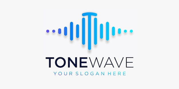 Letter t with pulse . tone wave element. logo template electronic music, equalizer
