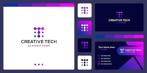 기술 스타일과 그라데이션 색상이 있는 문자 t. 명함.
