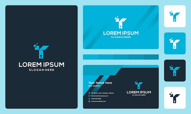 Letter t with the technology model. business card design template
