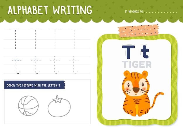 Foglio di lavoro della lettera t con la tigre