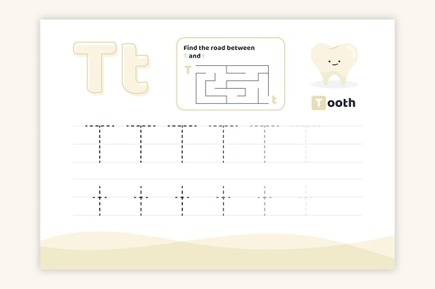 Letter t worksheet with tooth