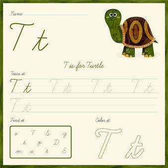 Foglio di lavoro della lettera t con la tartaruga