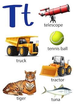 Letter t для телескопа, грузовика, теннисного мяча, трактора, тигра и т