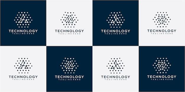 Letter a tech logo design vector . letter a abstract triangle logo blue design vector template